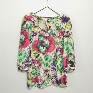 [Adiva] Floral Watercolor 3/4 Sleeve Blouse